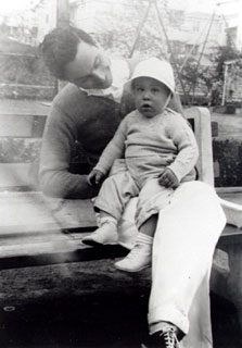 Photograph of Daniel Fuchs with his son Jacob, Erwinna, c. 1940. Image courtesy of Jacob Fuchs.