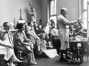 Garber teaching at Chester Springs, c. 1935. Image courtesy of the Garber family.