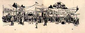 Frank Godwin (1889-1959), Illustration for Carnivals & Street Fairs (<em>Bucks County Traveler</em>, September, 1955). Image courtesy James A. Michener Art Museum archives, Constance Allen Ward Collection.