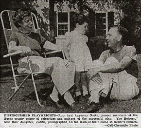 Ruth and Augustus Goetz with their daughter, Judith, c. 1940. Image courtesy of the Collection of the Spruance Library of the Bucks County Historical Society.