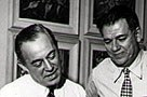 Richard Rogers, Oscar Hammerstein II, preparing for <em>South Pacific.</em> Image courtesy of The Rodgers & Hammerstein Organization (cropped).