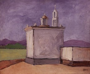 Henry Baker (1900-57), <em>A Southwestern Mission</em>, ca 1934, oil on canvas, H. 24 x W. 20 inches, James A. Michener Art Museum. Gift of Marguerite and Gerry Lenfest.