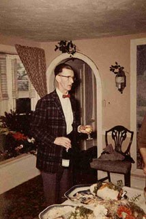Photograph of Robert A. Hogue at his home at Windy Bush Road, Christmas c. 1950. Image courtesy of private collection.