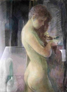Robert A. Hogue (1901-1966), <em>Nude Hairdo</em>. Pastel. 24 x 32 inches. Image courtesy of private collection.