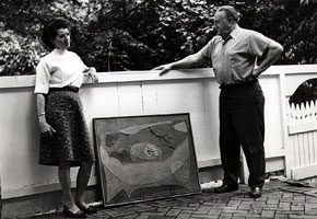 <p>Lee Gatch and Elsie Driggs with <em>Pompeian Gesture, </em>Gatch's stone collage and oil. Photograph by Peggy Lewis.</p>