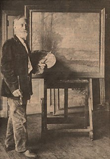 William Lathrop in his studio, 1930. <em>The Intelligencer</em>, May 18, 1980. James A. Michener Art Museum archives.