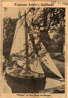 <p>William Langson Lathrop (1859-1938), <em>Famous Artist's Sailboat, Trenton Sunday Times-Advertiser</em>, 1931. Image courtesy of the Spruance Collection of the Bucks County Historical Society.</p>