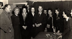 Nondas Metcalfe (3rd from right) with Maurice Chevalier, Paris, France, 1944. Image courtesy of Nondas Metcalfe Case.