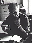 <p>James A. Michener at the desk of his Bucks County home. Courtesy of Urban Archives, Temple University, Philadelphia, Pennsylvania. </p>