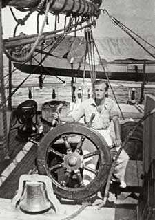 R.A.D. Miller on his boat,<em> the Beauchamp.</em> Photo by Celia Marshall Miller, 1932. Courtesy of the Miller Family.