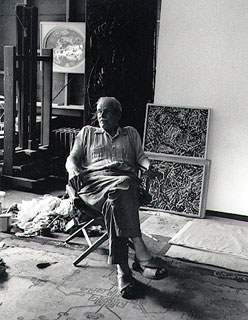 Bill Ney in his studio, 1961. Photograph by Jack Rosen. James A. Michener Art Museum.