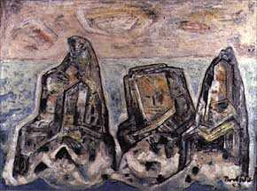 <p>B.J.O Nordfelt, <em>Barrier Rocks</em>, 1953. Oil. 30 x 40 inches. Image courtesy of the James A. Michener Art Museum archives.</p>