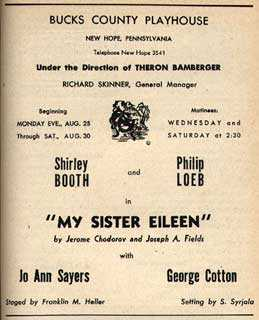 Shirley Booth (1898-1992), <em>My Sister Eileen</em>, Bucks County Playhouse, 1947. Playbill courtesy of the Spruance Collection of the Bucks County Historical Society.