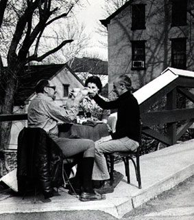 Photo of Jack and Florence Rosen with Johnny Francis at Mechanicsville Street in New Hope, n.d.