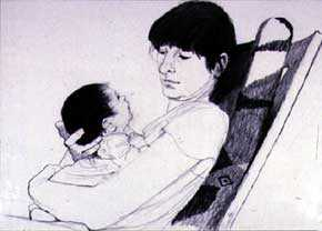 Elizabeth Ruggles (1915-2013), <em>Mother and Child.</em> n.d. Image courtesy of the artist. James A. Michener Art Museum archives.