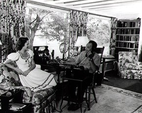 Kitty Carlisle Hart and Moss Hart at their home. Fairview Farm, Bucks County. Image courtesy of Kitty Carlisle Hart.