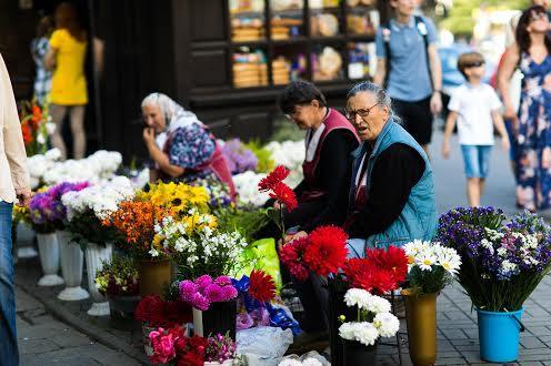 Цветы в центре Львова