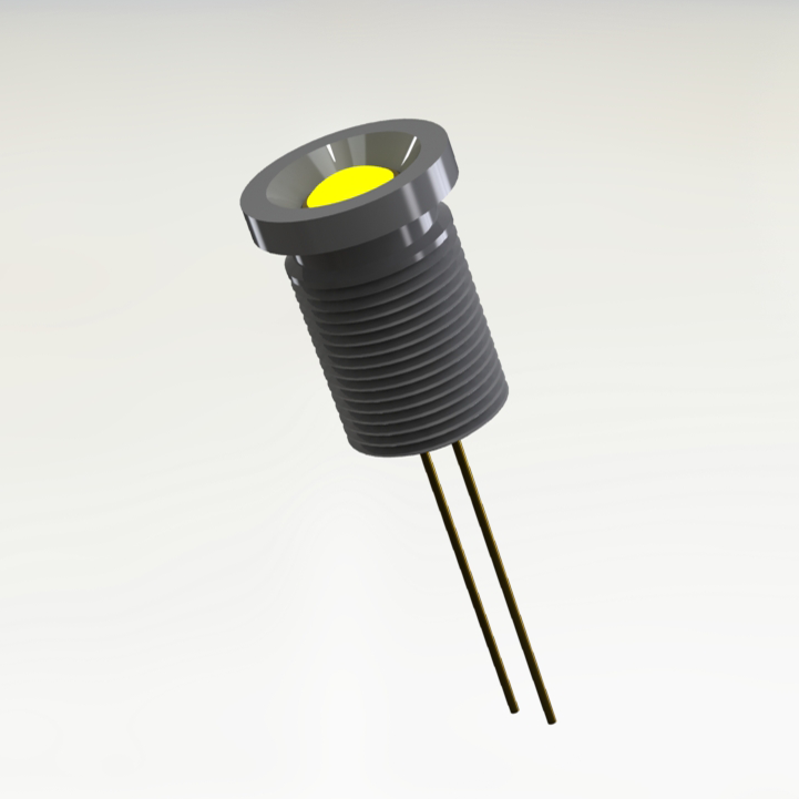 MIL-PRF-19500 / 520-02 Yellow Panel Mount Hermetic LED Indicator