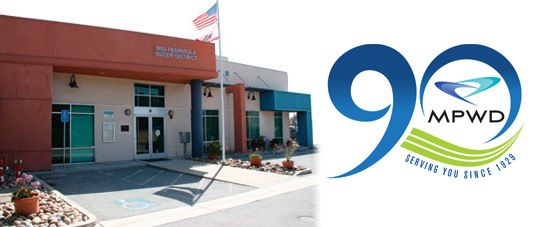Photo of MPWD District Office and 90th Anniversary logo