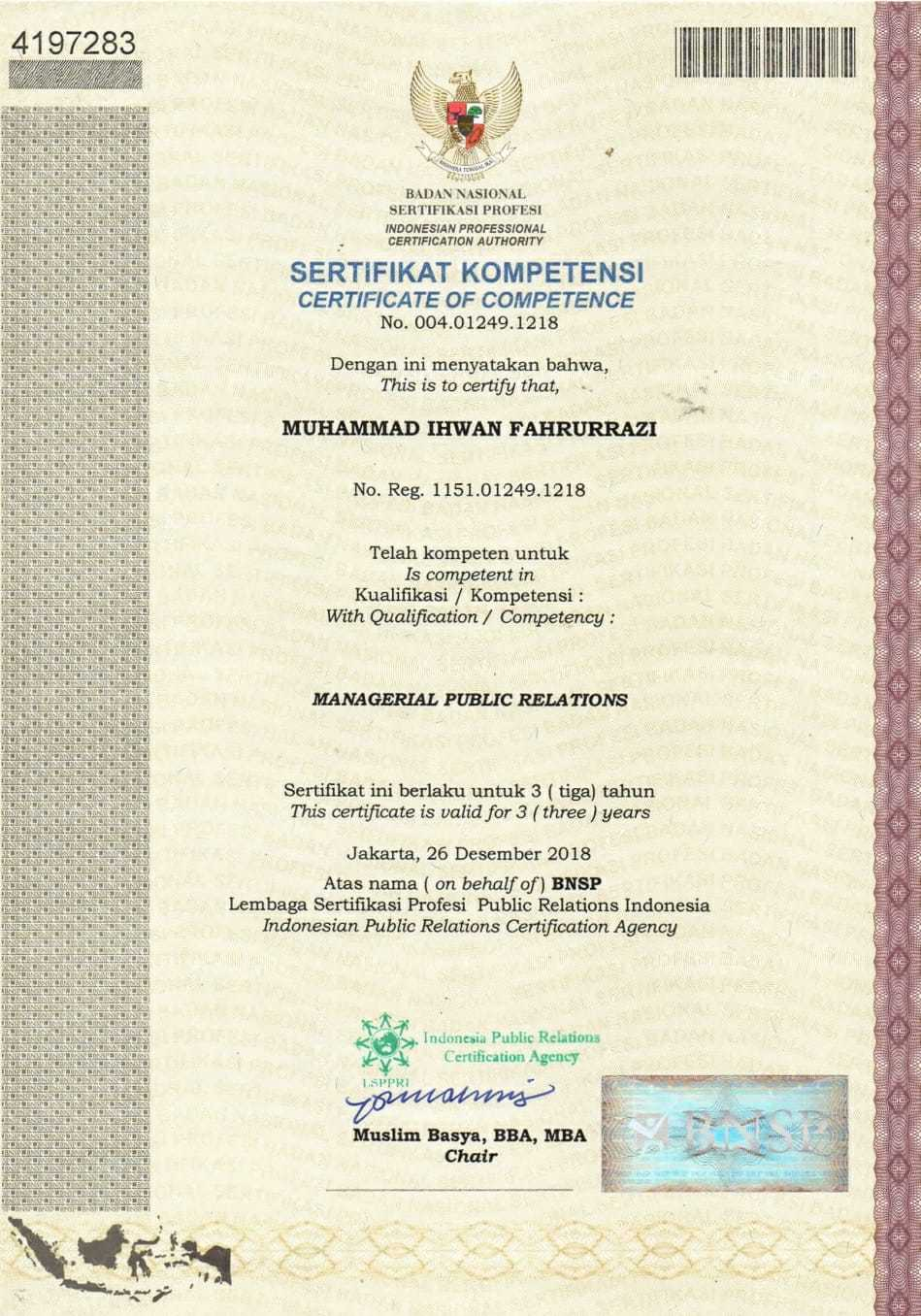 Certificate of Competence Public Relations
