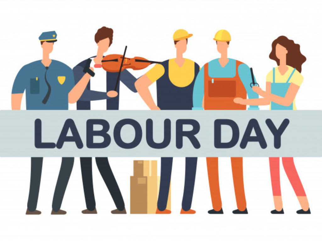 Labour day banner with cartoon professionals isolated white 53562 8320