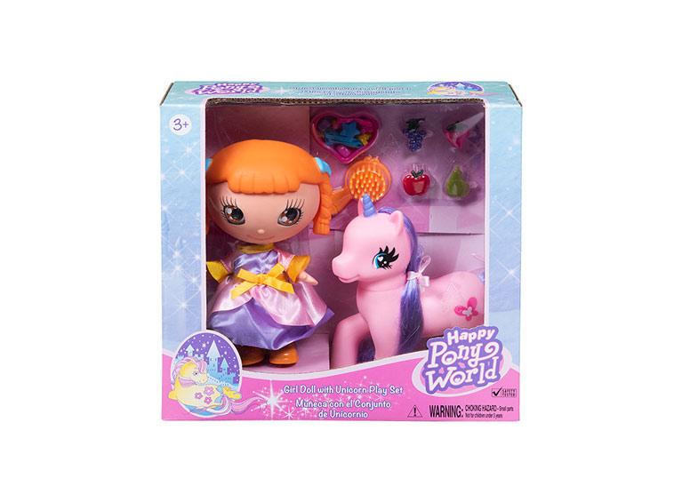"""Muñeca 8"""" con pony y accesorios"""