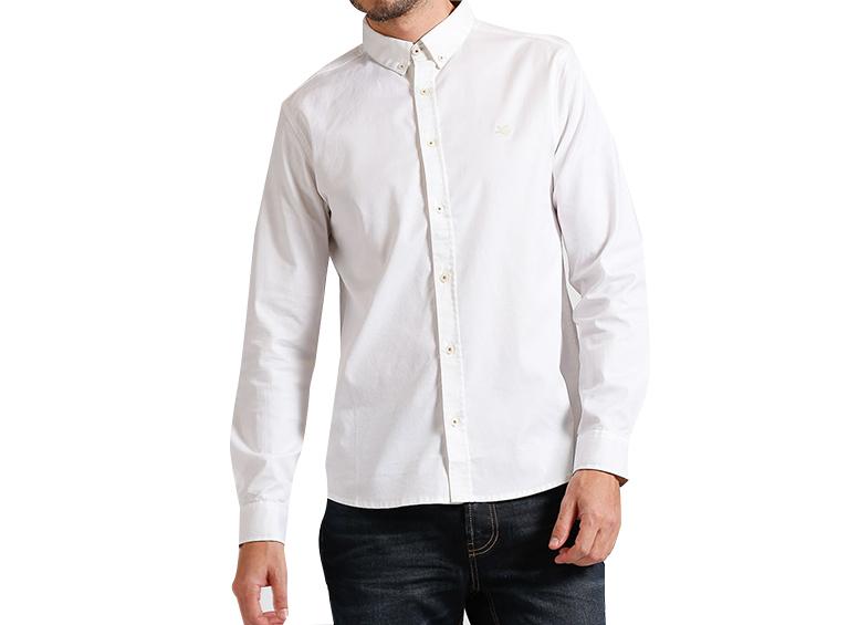Camisa slim manga larga llana