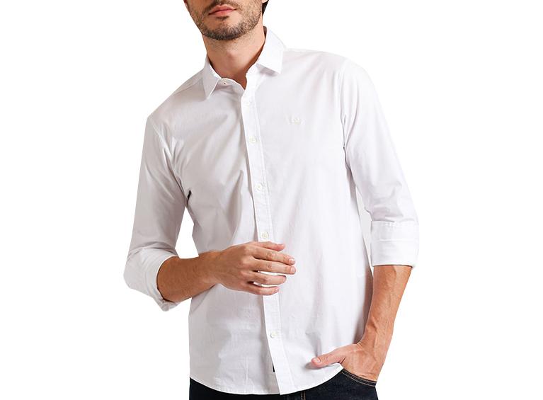 Camisa slim manga larga