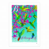 MinaLima - A Bouquet of Hummingbirds Print