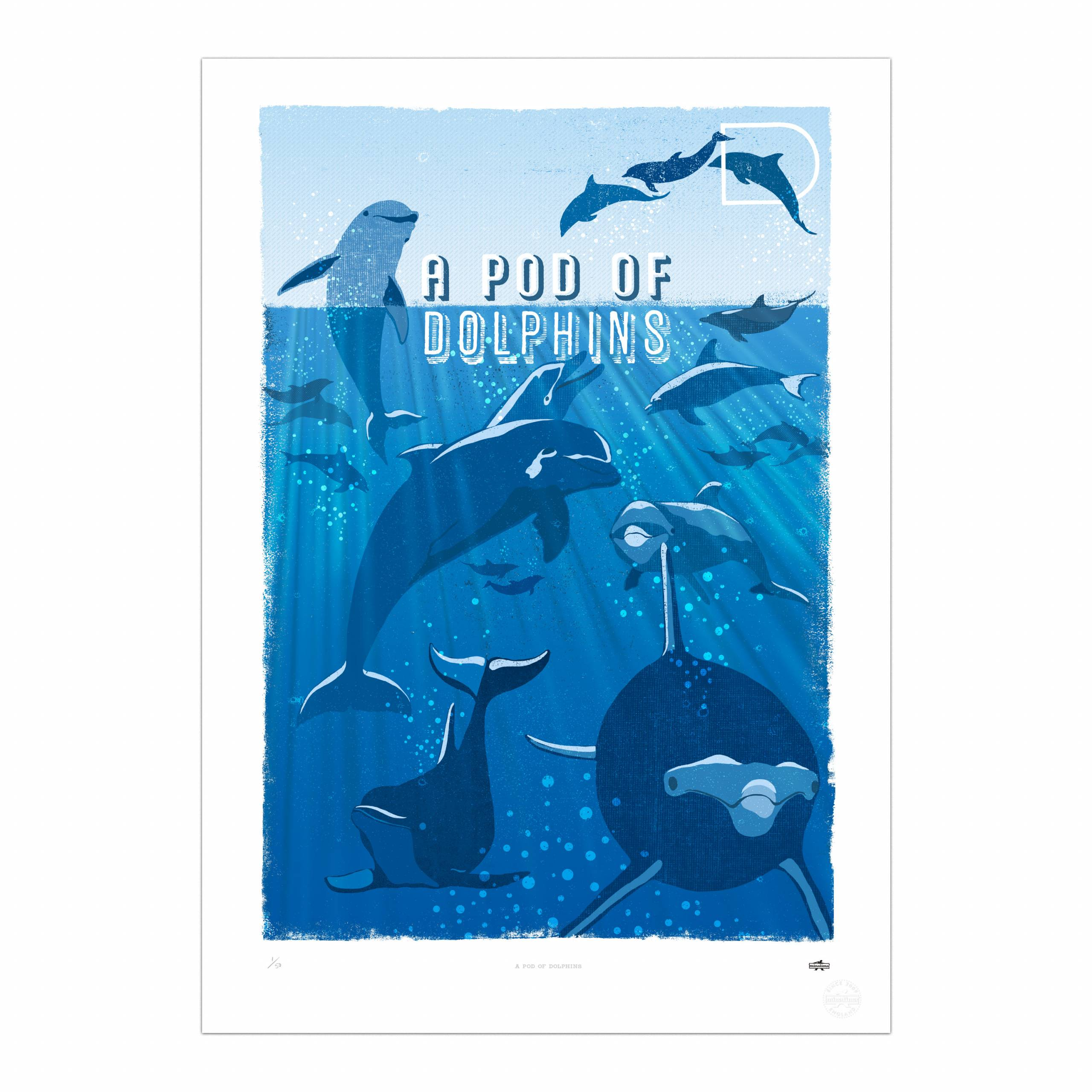 - A Pod Of Dolphins Print - Graphic Art By Miraphora And Eduardo At