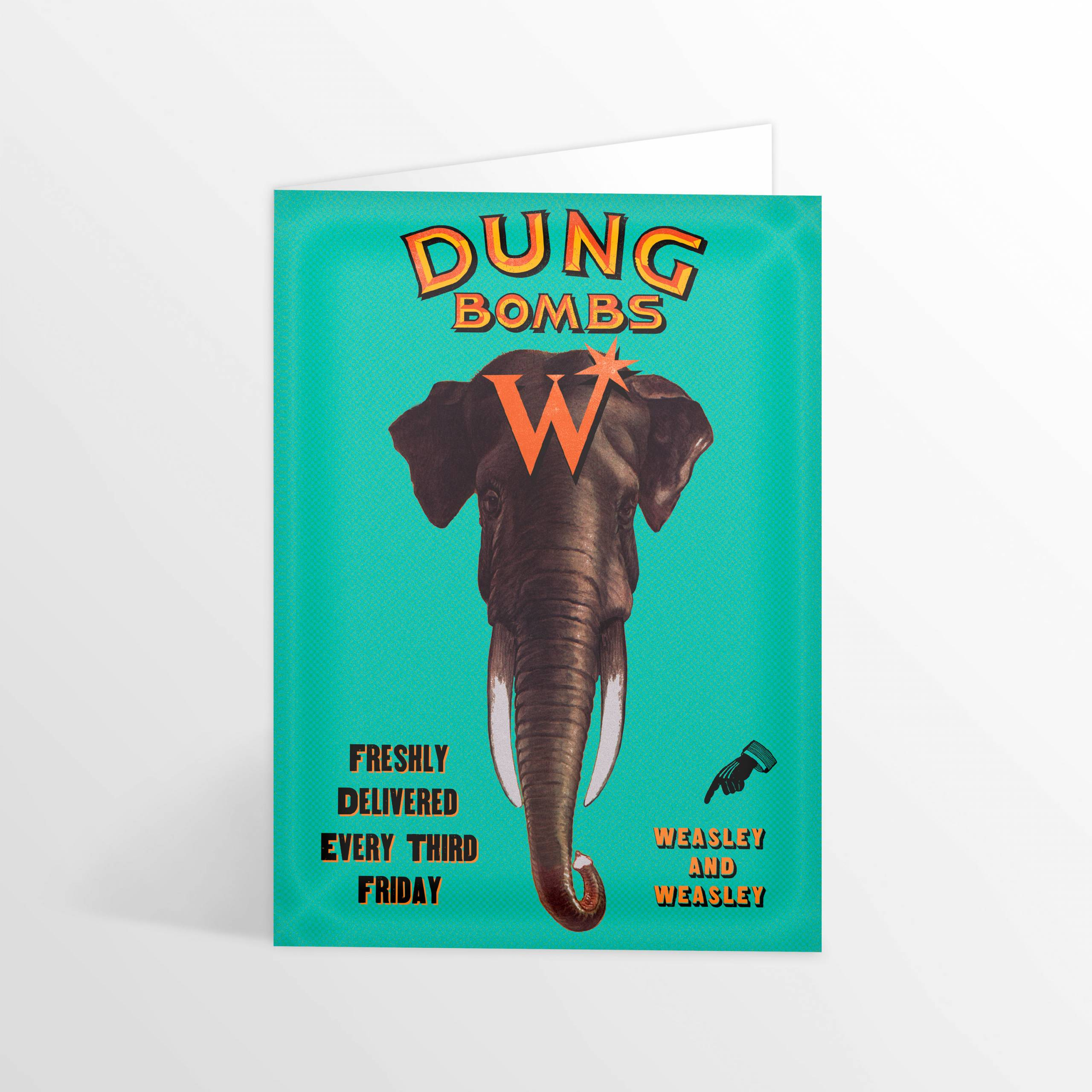 Notecard showing an advertisement for Dung Bombs