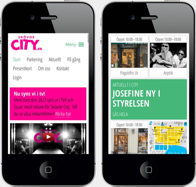 Skövde City mobilwebb responsiv