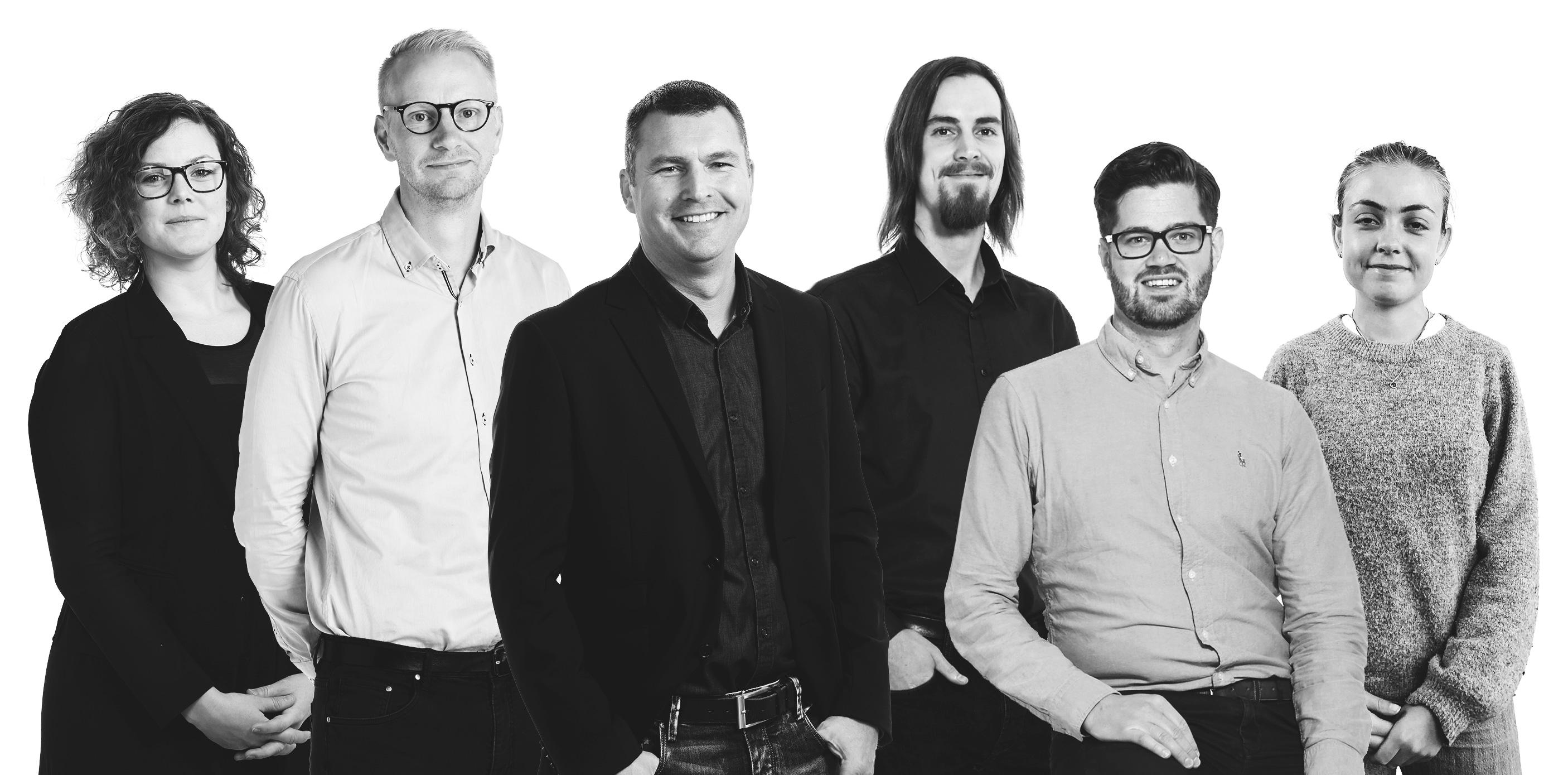 Gruppbild på Mindius Team – Från vänster: Camilla, Lansen, Big C, Jens, Mattias, Jenny