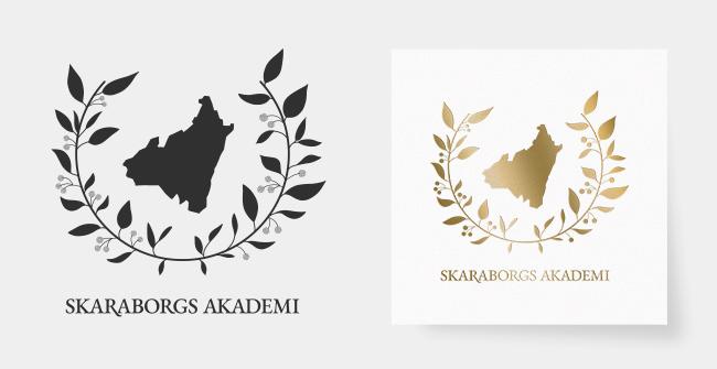 Svart och guldlogga för Skaraborgs Akademi