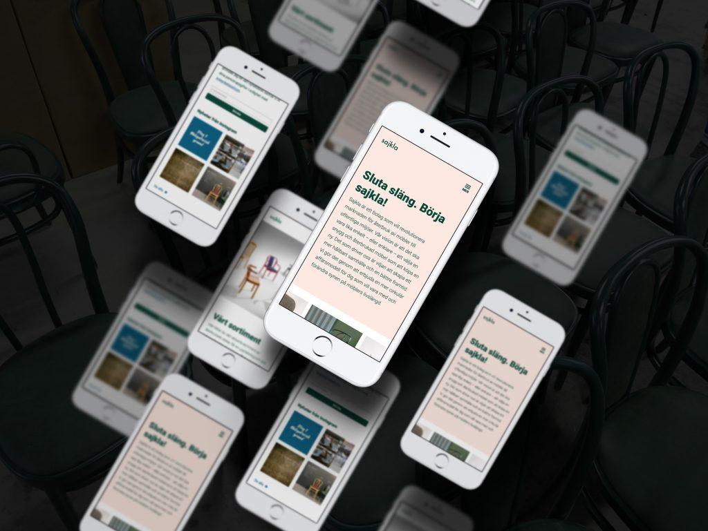 Sajkla.se i mobilen, konceptskiss
