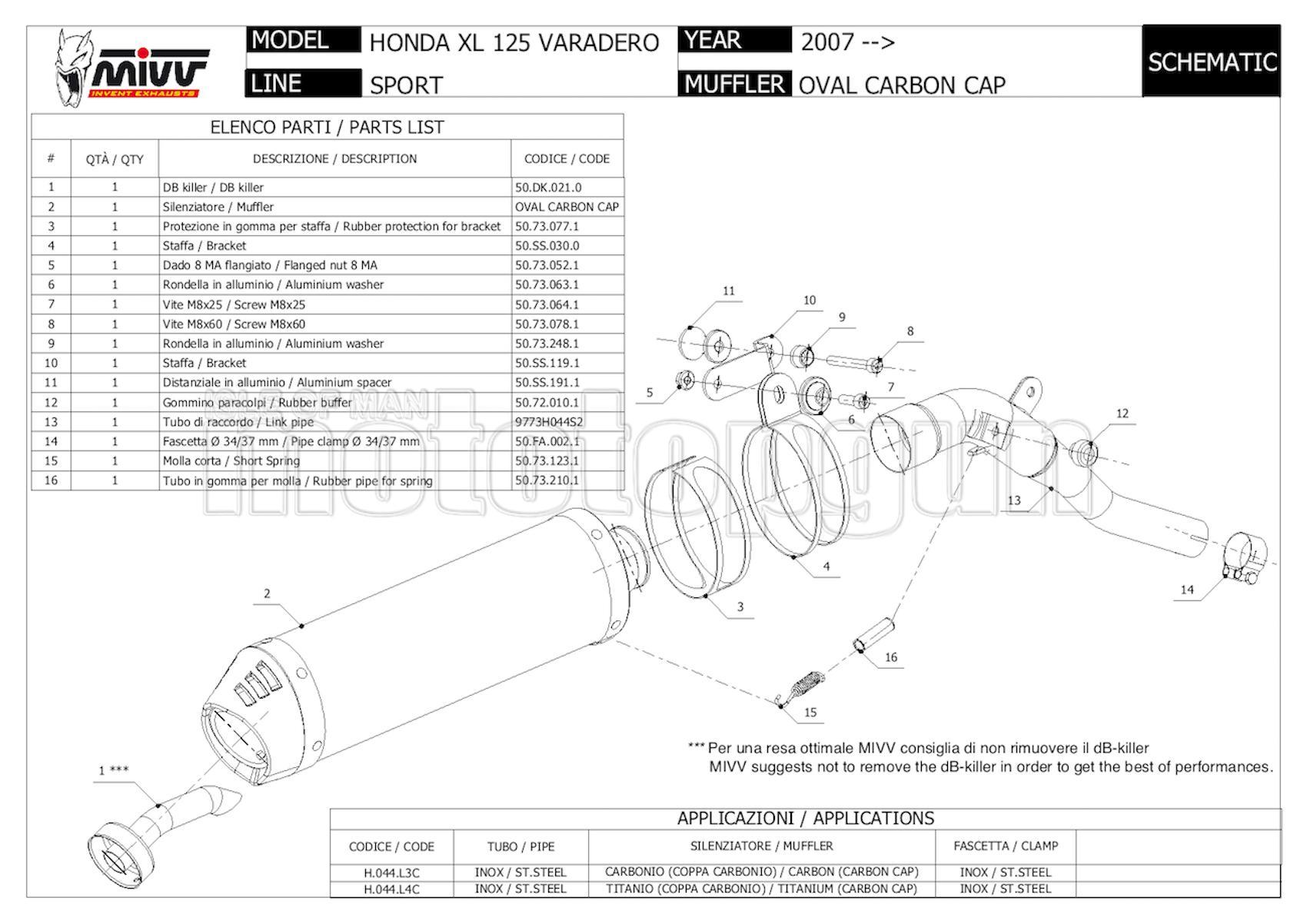 MIVV TUBO DE ESCAPE HOM OVAL CARBONO COPA CARBONO XL 125 VARADERO 2007 07 H.044.L3C