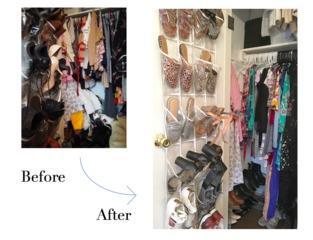 Ny sustainable wardrobe organizing before   after