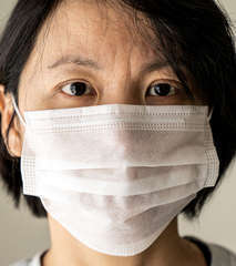 China woman wear medical mask protection from flu  tzml475