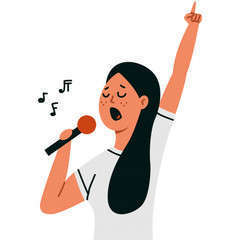 Woman singing into microphone isolated white 97231 419
