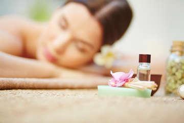 Young woman enjoying beauty treatment