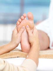 Massage foot spa salon close up