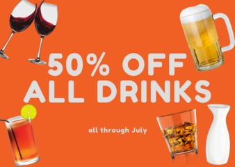 50 off all drinks