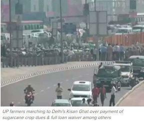 <p>NEW DELHI: Hundreds of Uttar Pradesh farmers were on their way to Kisan Ghat in Delhi demanding outstanding sugarcane dues, credit exemptions, and cheap electricity, among others.</p>