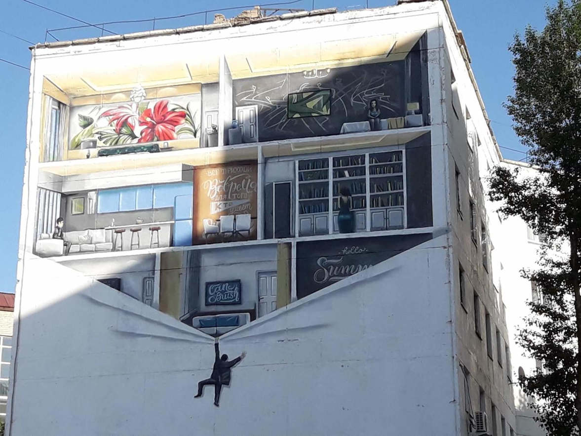 """<p><span style=""""color: rgb(56, 56, 56);"""">Этим летом в нашем городе на стенах домов появились необычные художественные панно выполненные в стиле ГРАФФИТИ... По согласованию с архитектурным департаментом городского&nbsp;акимата лучшие в городе СТРИТ АРТ&nbsp;художники, нарисовали картины на разные темы. Темы они подбирали сами. На радость горожанам, которые вместо пустых пространств стен строений и зданий, теперь получили возможность любоваться настоящим искусством! Следующим летом эта замечательная практика будет продолжена! Подходящие площадки уже определены.</span></p>"""