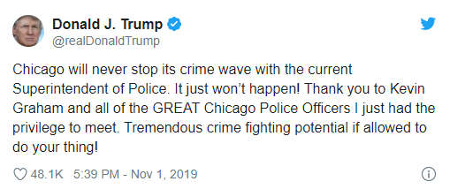 """<p>CHICAGO -- Police in Chicago published October's crime rates indicating a drop-in killings and shootings. The release comes as President Donald Trump and Superintendent Eddie Johnson comment on the crime in Chicago.</p><p>CPD stated that&nbsp;last month there were 233 victims of shooting across the city, down from last year's 252. In this month, there were 38 murders, compared with 49 in 2018. """"While we're never going to allow ourselves to be complacent about fighting violence across our city, we're encouraged to see our vision for a safer Chicago materialize,"""" retorted by&nbsp;Superintendent Johnson.</p><p>There were 1,831 shootings, 2,242 shooting victims and 424 killings in Chicago in 2019 through the end of October, police said. In 2018, there were 2,041 shootings, 2,462 victims of shooting and 478 murders.</p><p>President Donald Trump tweeted on crime in Chicago on Friday morning, writing, """"Chicago will never stop the surge of violence with the current Police Superintendent.""""</p><p>Sooner this week, during his speech at the International Association of Police Heads, President Trump criticized Chicago Superintendent Eddie Johnson.</p><p>""""People like Johnson are placing criminals and illegal aliens above Chicago's people and those are his ideals and, frankly, those values are a shame to me,"""" Trump stated his statement.</p><p>""""Not only my own feelings about it, but our fundamental values as a community must be taken into account,"""" Johnson stated. """"We're nothing without confidence, and with some of our communities under siege, it just doesn't match the core values of our city with my personal values.""""</p>"""