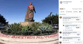 """<p>Christopher Columbus ' statue in San Francisco was vandalized the day before the federal holiday commemorating his arrival in the Americas in 1492.</p><p>On Sunday, city workers washed up a statue at the foot of Coit Tower on Telegraph Hill, which was coated with red paint. Graffiti on the foundation said """"Destroy all genocide sites"""" and """"Kill all colonizers.""""</p><p>The North Beach News posted a picture of the defaced monument; one columnist commented, """"Well done. Columbus doesn't deserve any better."""" The case is under investigation by the San Francisco Police Department.</p><p>The New World explorer has become a polarizing figure, and Columbus monuments are often the object of vandals across the United States. On Monday, a statue in Rhode Island was splashed from head to toe with red paint. A poster reading """"Stop Celebrating Genocide"""" was leaned against the pedestal.</p><p>Although Columbus Day is a national holiday held on the second Monday of October, many areas across the country have changed from celebrating Columbus to paying tribute to the indigenous communities who endured abuse and disease as explorers as Columbus arrived. More than 100 towns celebrate the Day of the Indigenous Peoples instead of Columbus Day.</p><p><br></p>"""