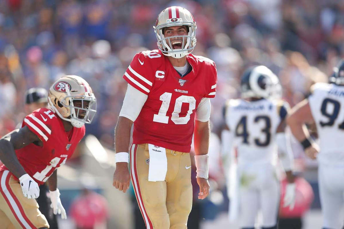 """<p>Five years ago, the Warriors shocked the NBA when they began the season playing like an improved team, and jumped on a rocket to the moon. The 49ers are giving away the same kind of vibe.</p><p>I'm not saying that they're going to go to the Super Bowl five seasons in a row, starting with this one. But after Sunday's 20-7 beatdown of the once-powerful Rams, the 49ers have a chance to be the season's bust-out NFL team.</p><p>Boring? Boring? No longer. There are legitimate excitement and a buzz around the 5-0 49ers.</p><p>Sunday's win was the most impressive of them, and it's getting harder and harder to call the 49ers a fluke.</p><p>""""We won all of these (five) games differently,"""" said Jimmy Garoppolo, quarterback. """"That's exactly what a good football team is.""""</p><p>Five games in the 49er's brand are taking shape. Since they were unbeaten, the form is pretty good. Can it be the football version of the Warriors? Ok, there are some of the same elements.</p><p>Defense, to begin with. For all their glamor, the Warriors built their mini-empire on a rock-solid defense. Sunday, the 49ers were steamrolled by the Rams on the opening leg of the game, then dug in and pitched a stone-cold shutout for 55 minutes and 25 seconds— against a team that just last season was lighting up the NFL like it was playing pinball.</p>"""