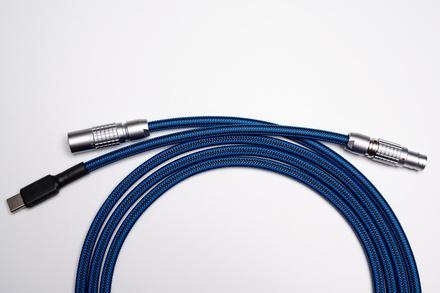 Non-coiled LEMO custom USB cable/ Blue Carbon
