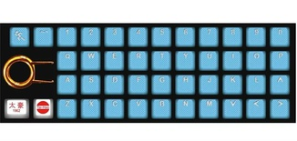 Tai-Hao Rubber Gaming Backlit Keycaps-42keys Neon blue
