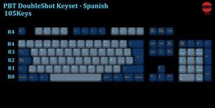 105-Key PBT Double Shot Tai-Hao keycaps set Spanish